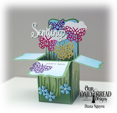 Our Daily Bread Designs, Surprise Box, Bitty Blossoms, Bitty Butterflies, Grass Border, Clouds and Raindrops, Designed by Diana Nguyen