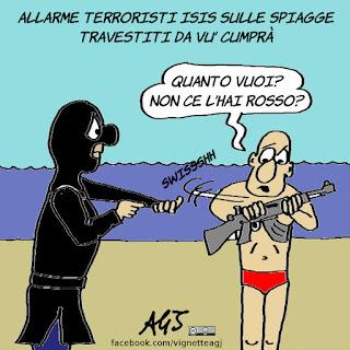 isis, turismo, spiagge, vu cumprà, terrorismo, satira, vignetta