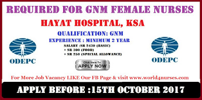 GNM FEMALE NURSES REQUIRED FOR HAYAT HOSPITAL, KSA
