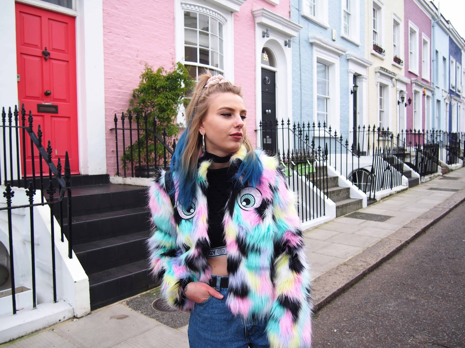 iron fist i see you coat, faux fur pastel jacket, vintage mom jeans, fishnets under jeans, mesh netted top, choker, nike cortez, pink faux fur backpack, 90s grunge style 1