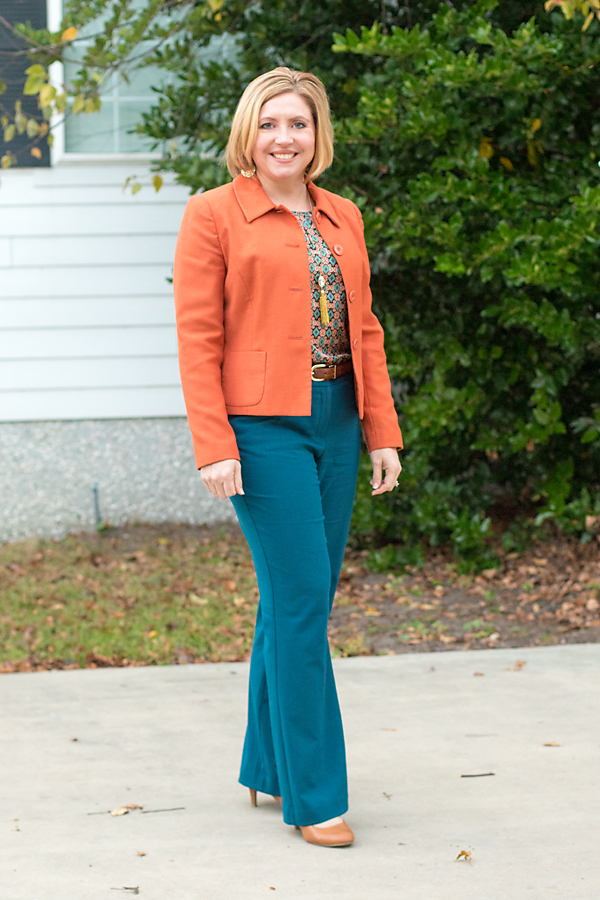 rust blazer, womens office outfit