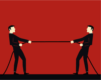 2 businessmen pulling on a rope in a tug-o-war