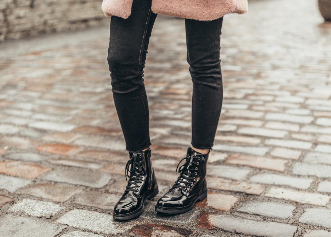 aldo black patent leather combat boots