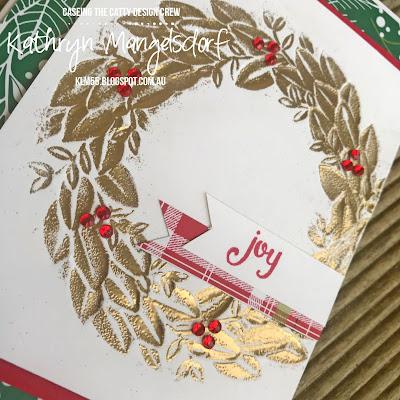 Stampin' Up! Season Wreath Dynamic Embossing Folder, Christmas Card, Embossing Folder, Reverse Embossing, Under the Mistletoe Designer Series Paper designed by Kathryn Mangelsdorf