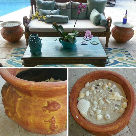 DIY Planter Patio Side Tables with Shells
