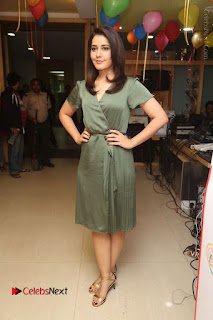 Actress Raashi Khanna Stills in Green Short Dress at Mirchi 95 Suno Aur Mercedes Jeeto Contest  0157.JPG