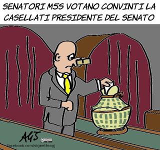 casellati, forza italia, presidente del senato, seconda carica dello stato, m5s, politica, vignetta, satira