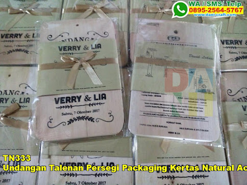 Jual Undangan Talenan Persegi Packaging Kertas Natural Accesories Pita