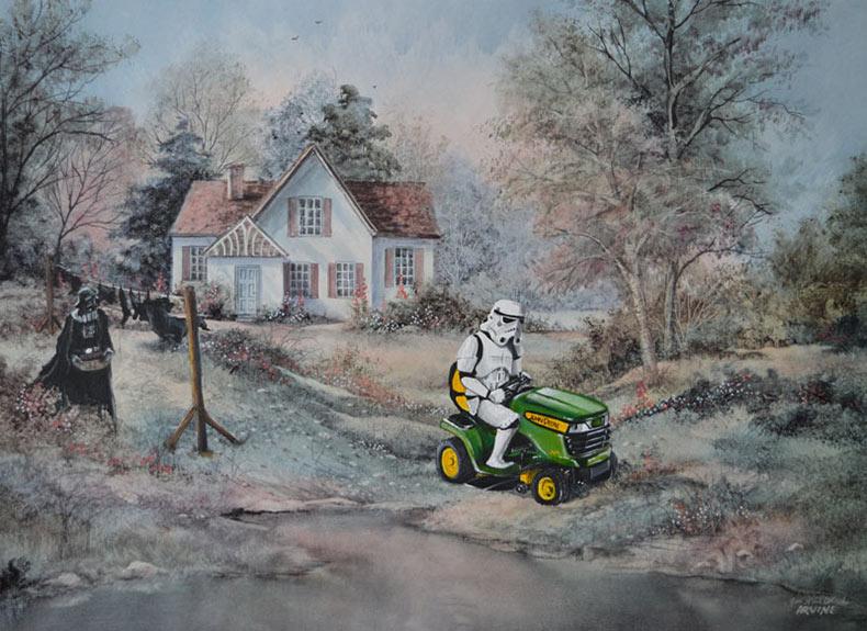 David Irvine no deja de pintar caracteres aleatorios en viejas pinturas de tiendas de segunda mano