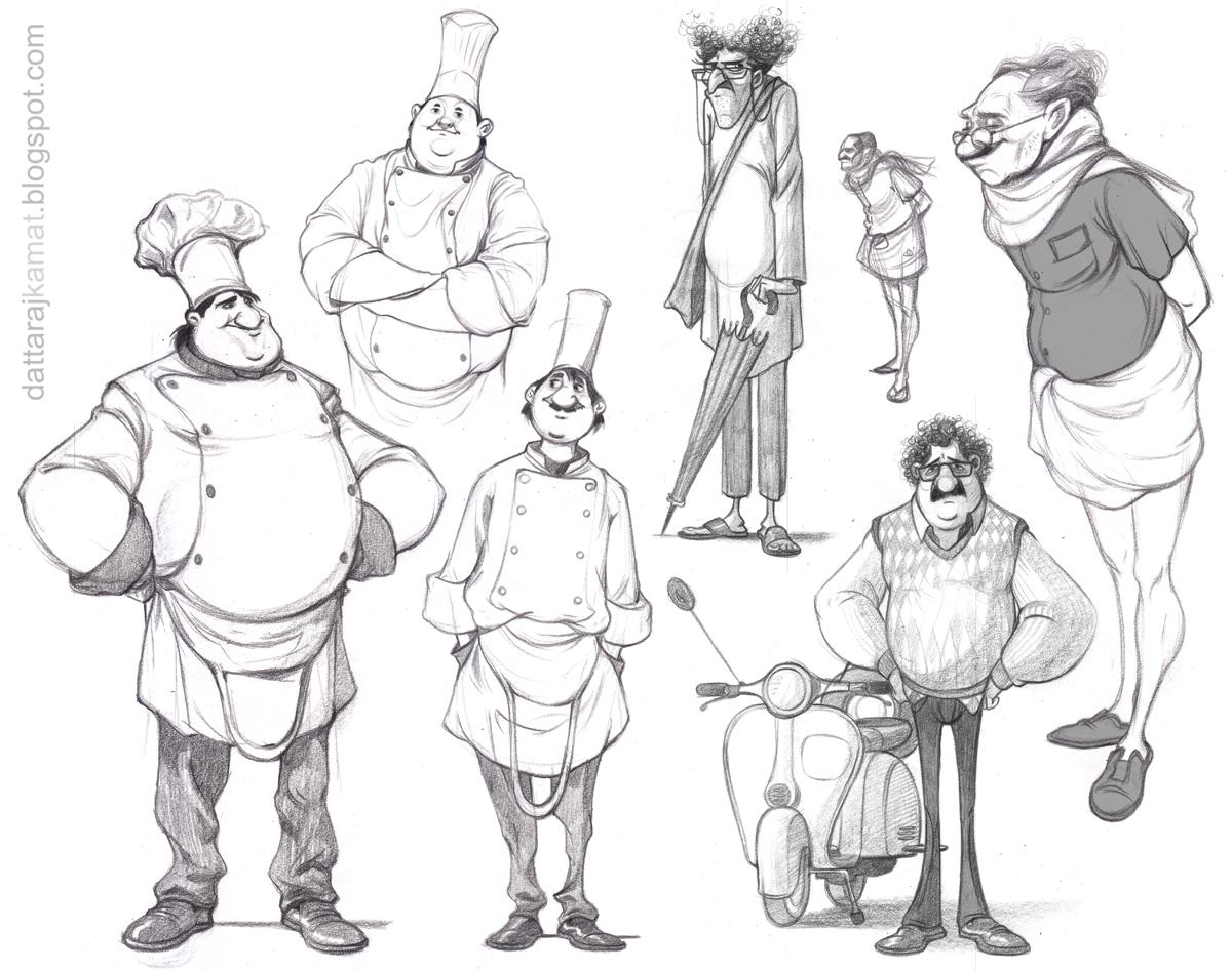 DATTARAJ KAMAT Animation art: ...some character sketches.