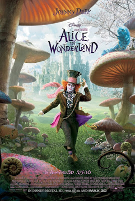 'Alice in Wonderland' poster showing the Mad Hatter strolling jauntily under giant toadstools