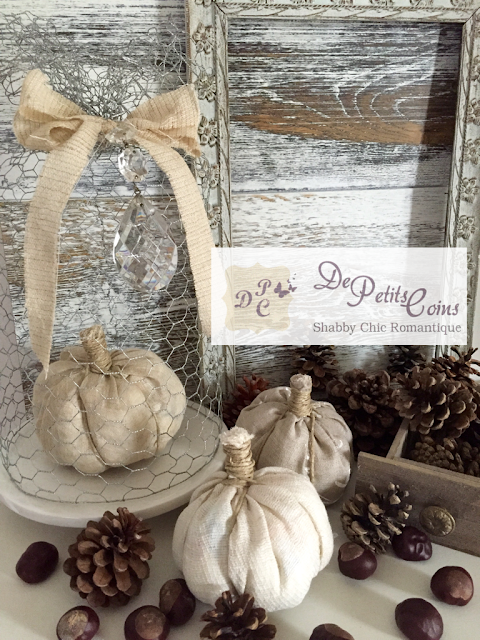 shabby fabric pumpkins