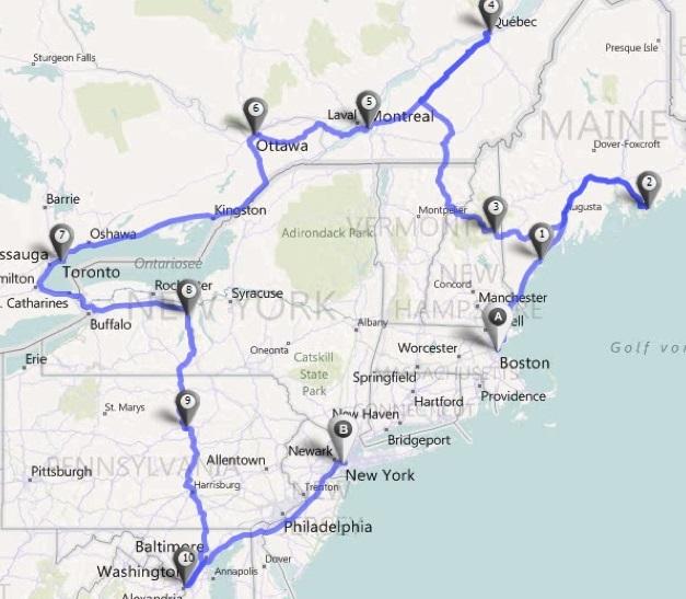 Alugar um carro em Boston - Mapa