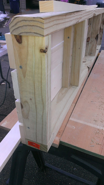Side view of the assembled sauna bench.