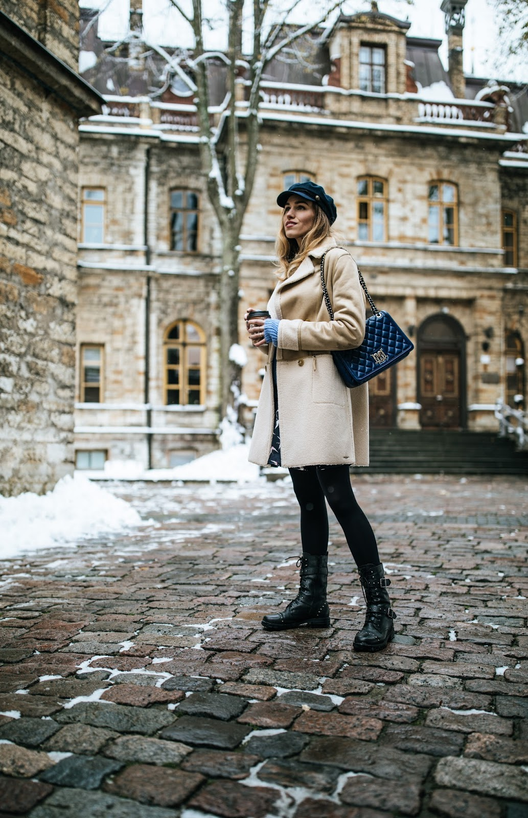 shearling coat winter outfit