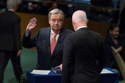 पुर्तगाल के पूर्व प्रधानमंत्री एंटोनी गुटरेज़ ने  संयुक्त राष्ट्र संघ के नौंवे महासचिव के रूप में कार्यभार संभाला