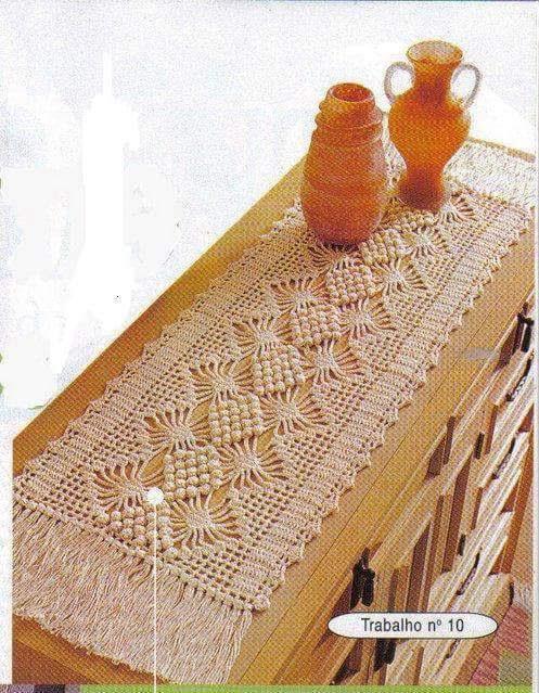 Caminho de mesa em crochê com gráfico e receita em barbante