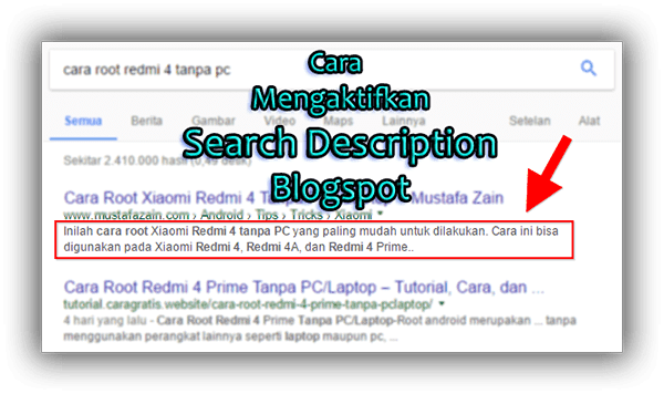 Cara Mengaktifkan Search Description pada Postingan Blogspot
