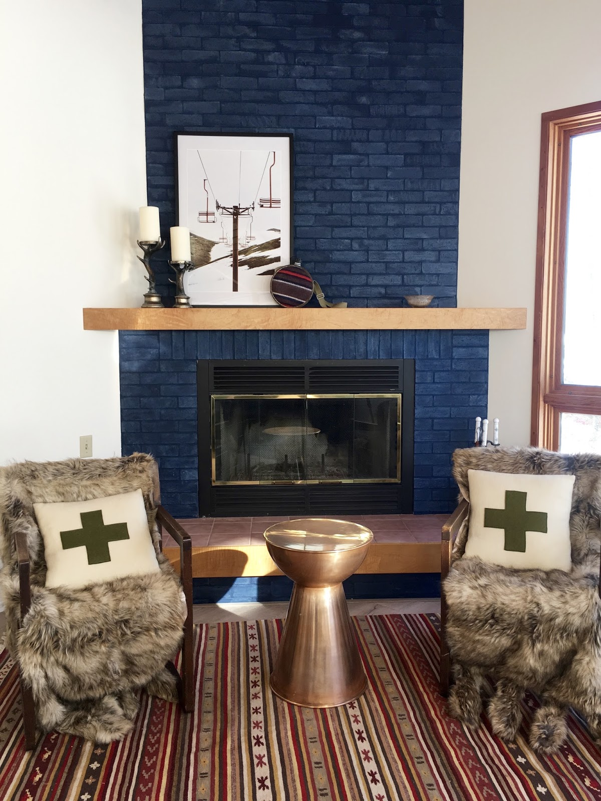 alaska home decor blog dark blue fireplace modern mountain home