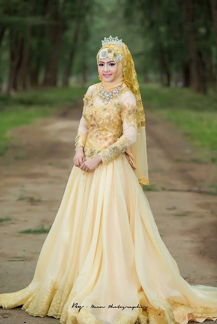 Model Gaun Pengantin Muslim Warna Kuning Terbaru