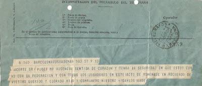 Telegrama de pésame del Club Ajedrez Paluzíe
