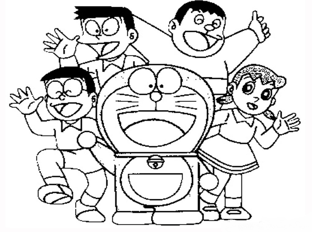 Sketsa Gambar Doraemon Nobita Dan Kawan Kawan Untuk Belajar Mewarnai