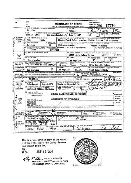 Secrets and lies marilyn monroes death certificate needs to be i read official documents and not what i read in magazines books or newspapers i have learned to go to the real sources even though they can be just as yadclub Images