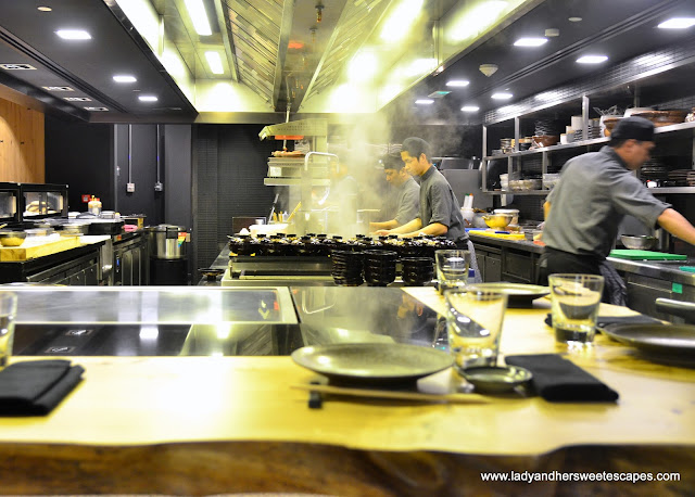 open kitchen in Miyako restaurant Dubai