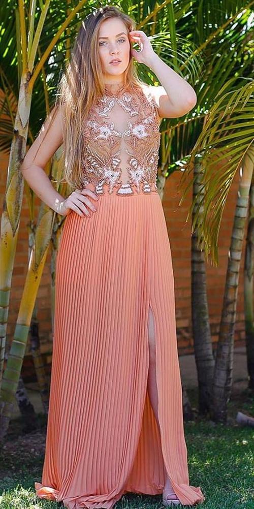 vestido de festa salmão