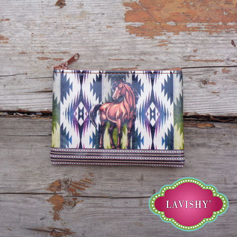 LAVISHY vegan leather coin purse with horse print