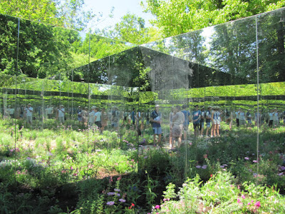 Reflections in mirrored garden at the International garden festival at Chaumont-sur-Loire