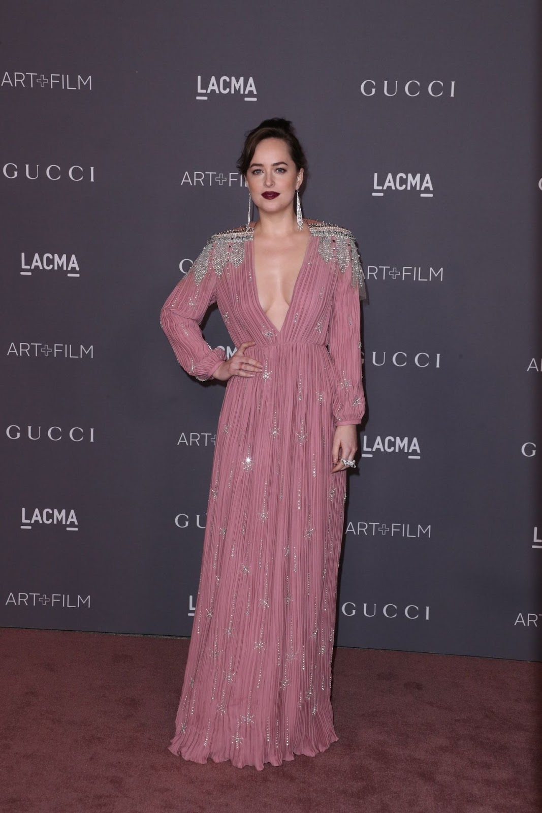 Dakota Johnson bares cleavage at the 2017 LACMA Art + Film Gala in LA