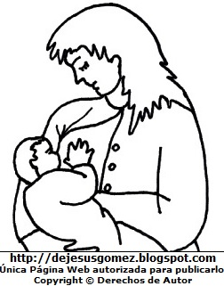 Dibujo de la Lactancia Materna para colorear, pintar e imprimir - Madre con su bebe tomando leche materna. Dibujo hecho por Jesus Gómez