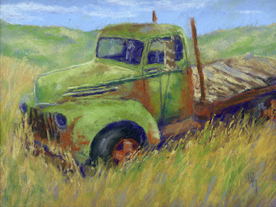 art painting truck abandoned ford flatbed rusty