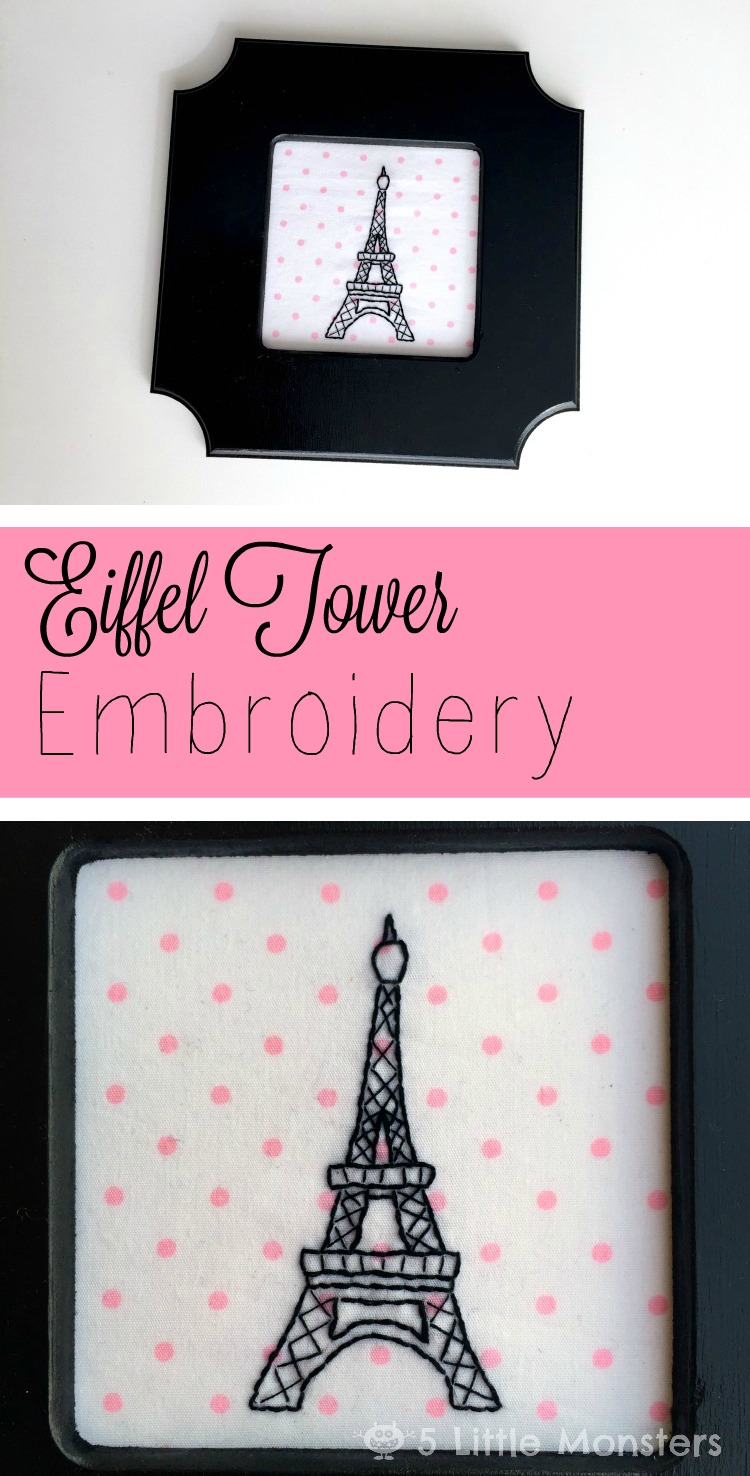 5 Little Monsters Eiffel Tower Embroidery