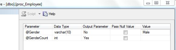 Passing input parameter using management studio
