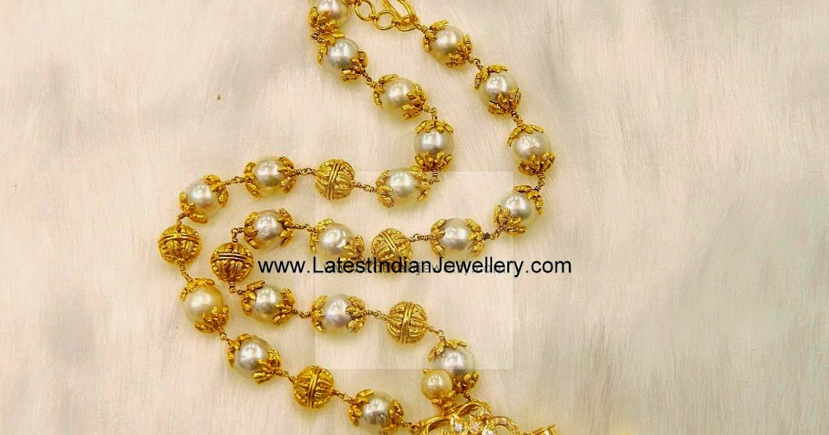 Pearl Beads Mala With Puligoru Pendant
