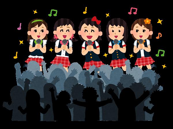 女性アイドルグループのイラスト(観客付き)