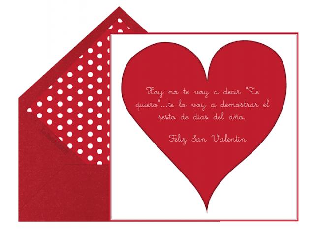 Felicita San Valentín en forma de carta