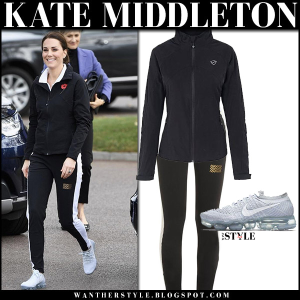 Kate Middleton in black track jacket play brave, black side stripe pants monreal and sneakers nike october 31 2017 fashion sport casual