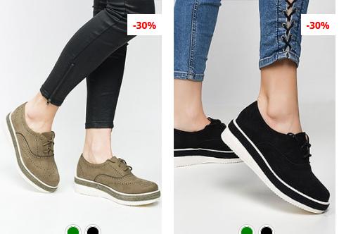 Pantofi Oxford negri, Verzi moderni ieftini din piele eco intoarsa