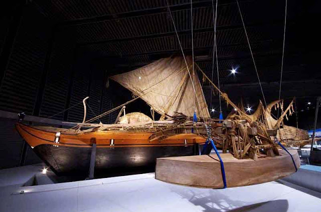 wood sailing ship display in museum