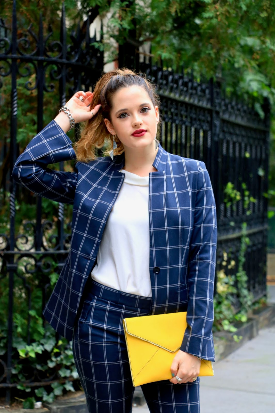 Nyc fashion blogger Kathleen Harper's plaid blazer outfit idea