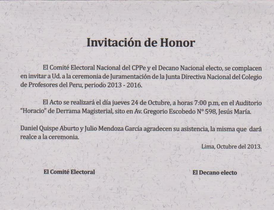 Sutep Trujillo Tarjeta De Invitación A La Juramentación De