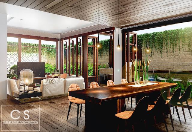 trang trí nội thất với nhiều cây xanh làm cho không khí trở nên thoáng hơn
