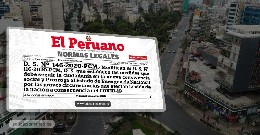 CORONAVIRUS EN PERÚ: Hasta el 30 de setiembre prorrogan estado de emergencia y cuarentena focalizada (D. S. Nº 146-2020-PCM)