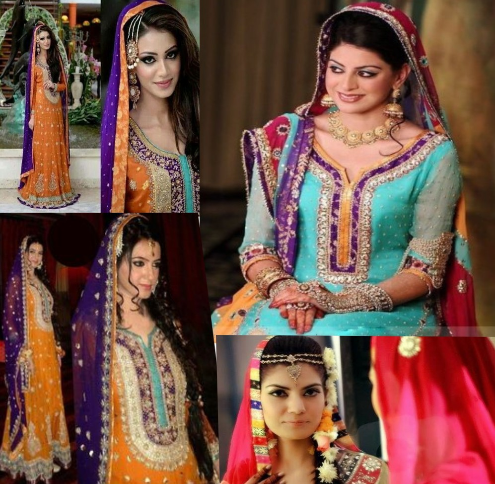Yellow and purple mehndi dresses for brides