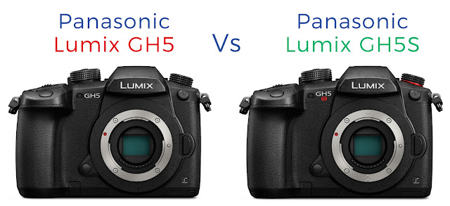 The Panasonic Lumix GH5S alongside the Lumix GH5 mirrorless digital camera comparing the two