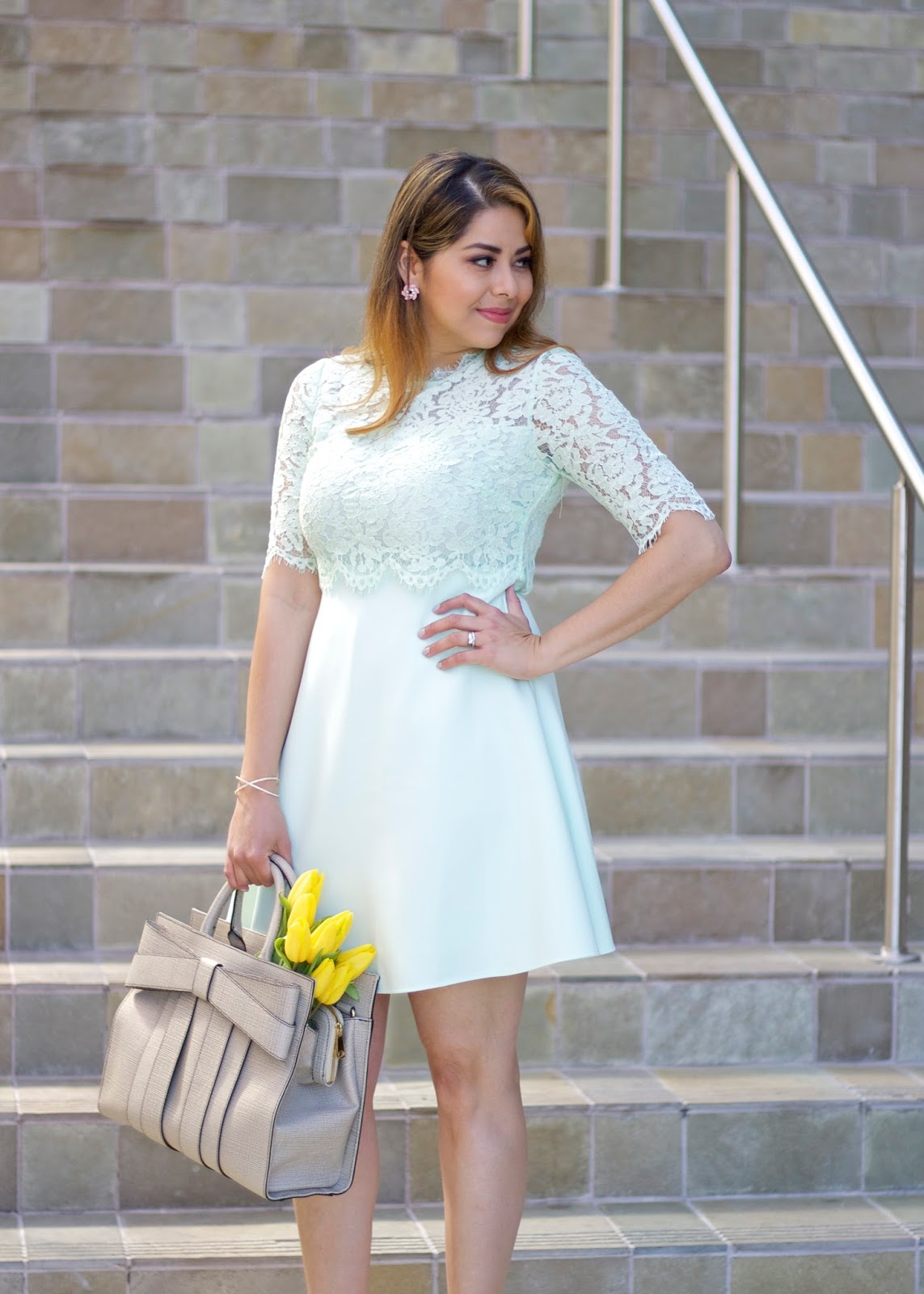 Spring Wedding guest look, what to wear to an elegant baby shower, girly outfit