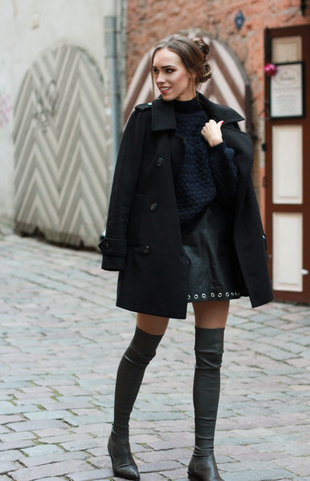over the knee flat boots outfit